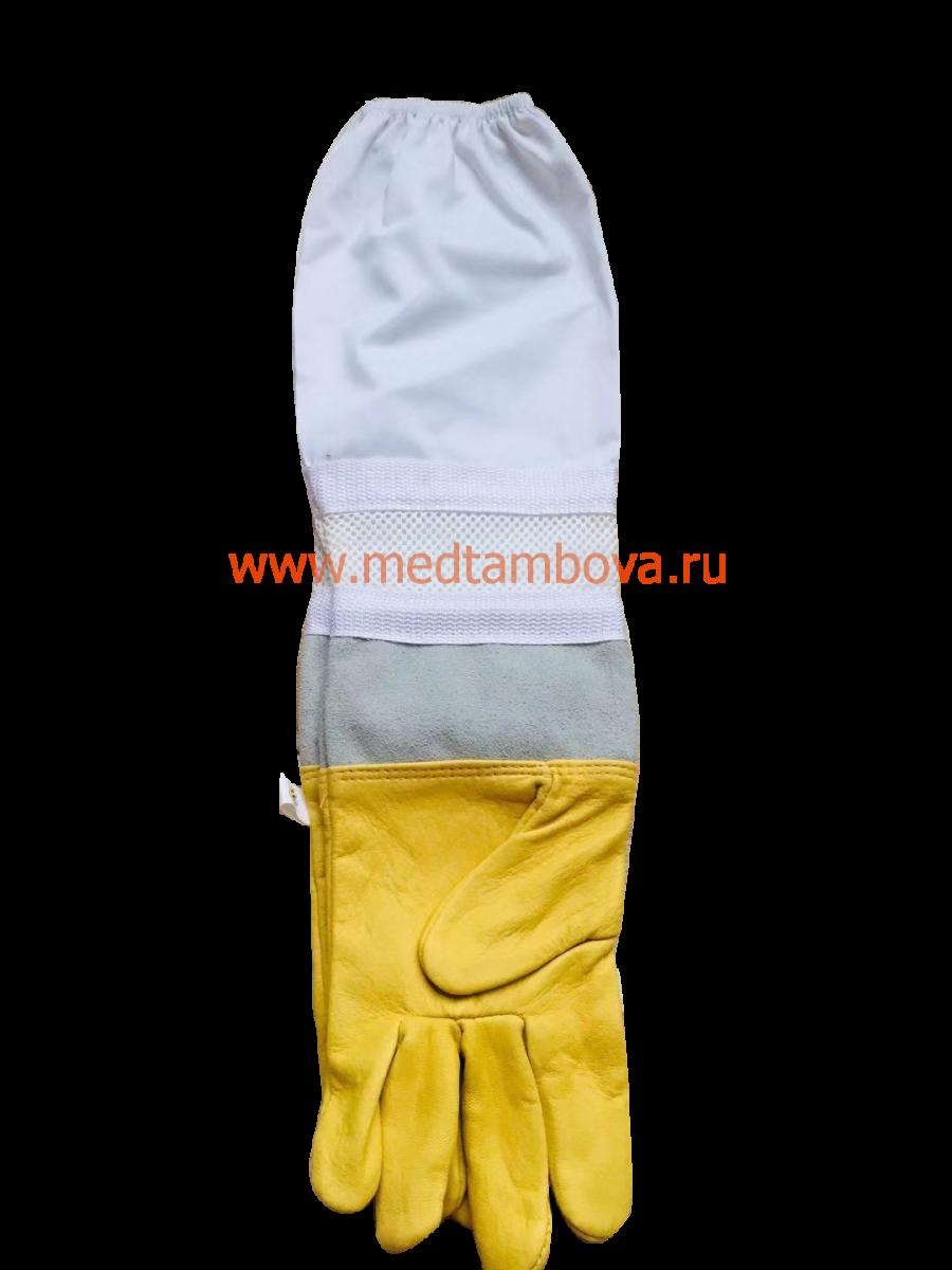 Перчатки кожаные со вставками дышащие (Китай)