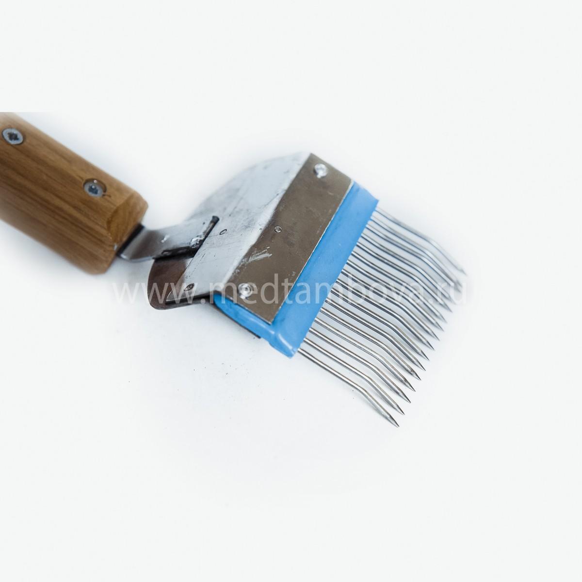 Вилка нержавейка игла гнутая ручка деревянная