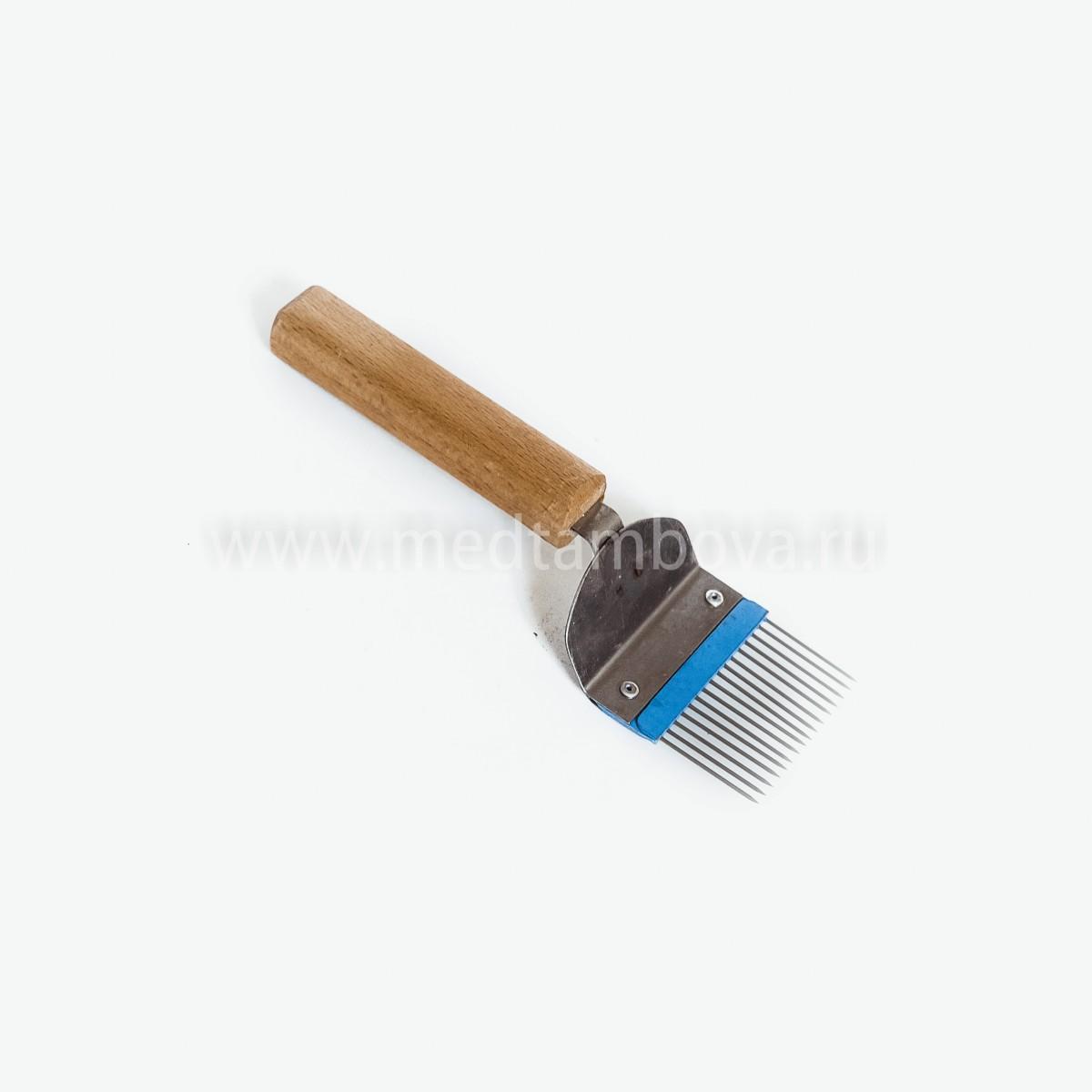 Вилка нержавейка игла прямая ручка деревянная