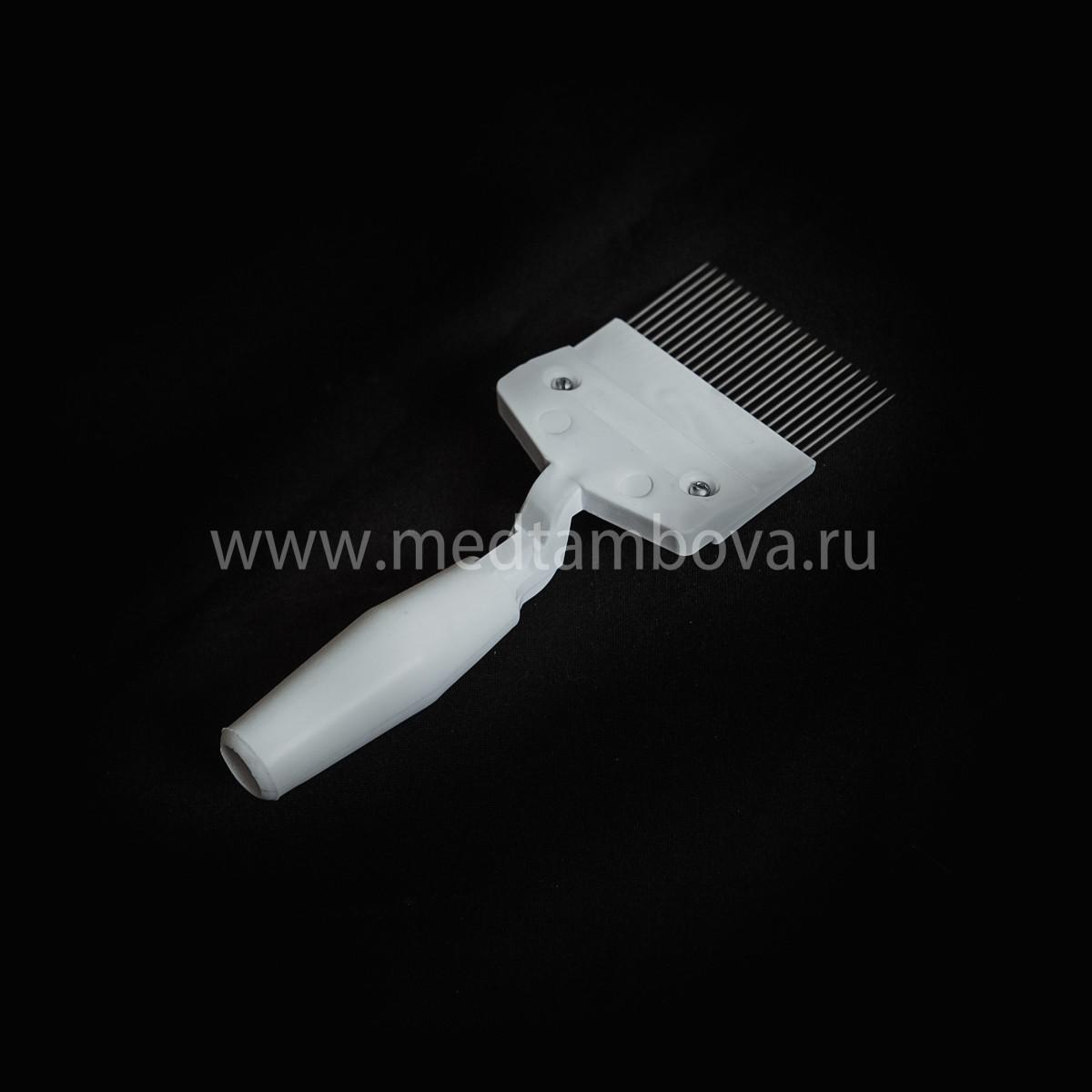 Вилка игла прямая ручка полистирол 23 иглы белая